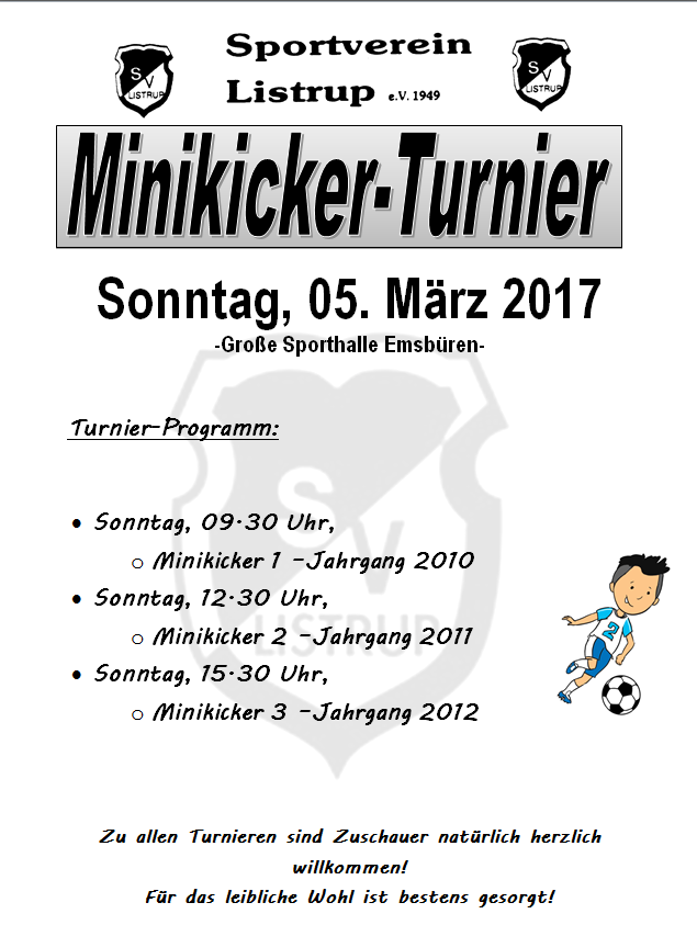 Aushang Mini Turnier 03.2017