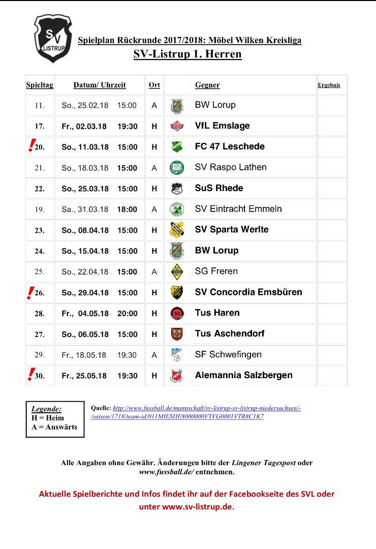 Spielplan Rückrunde 17-18
